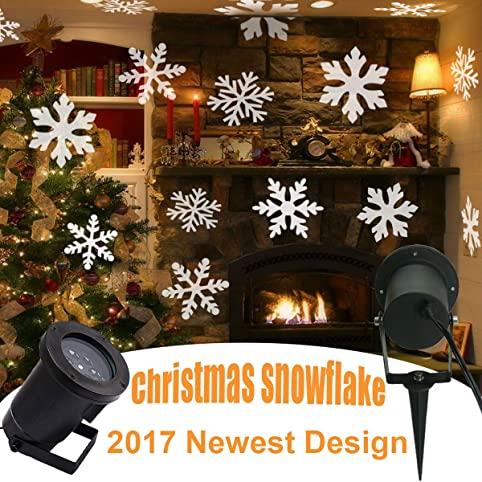 GESIMEI LED Inondation Lumières Intérieur/ Extérieur En mouvement Blanc  Flocon de neige Paysage Projecteur Lampe
