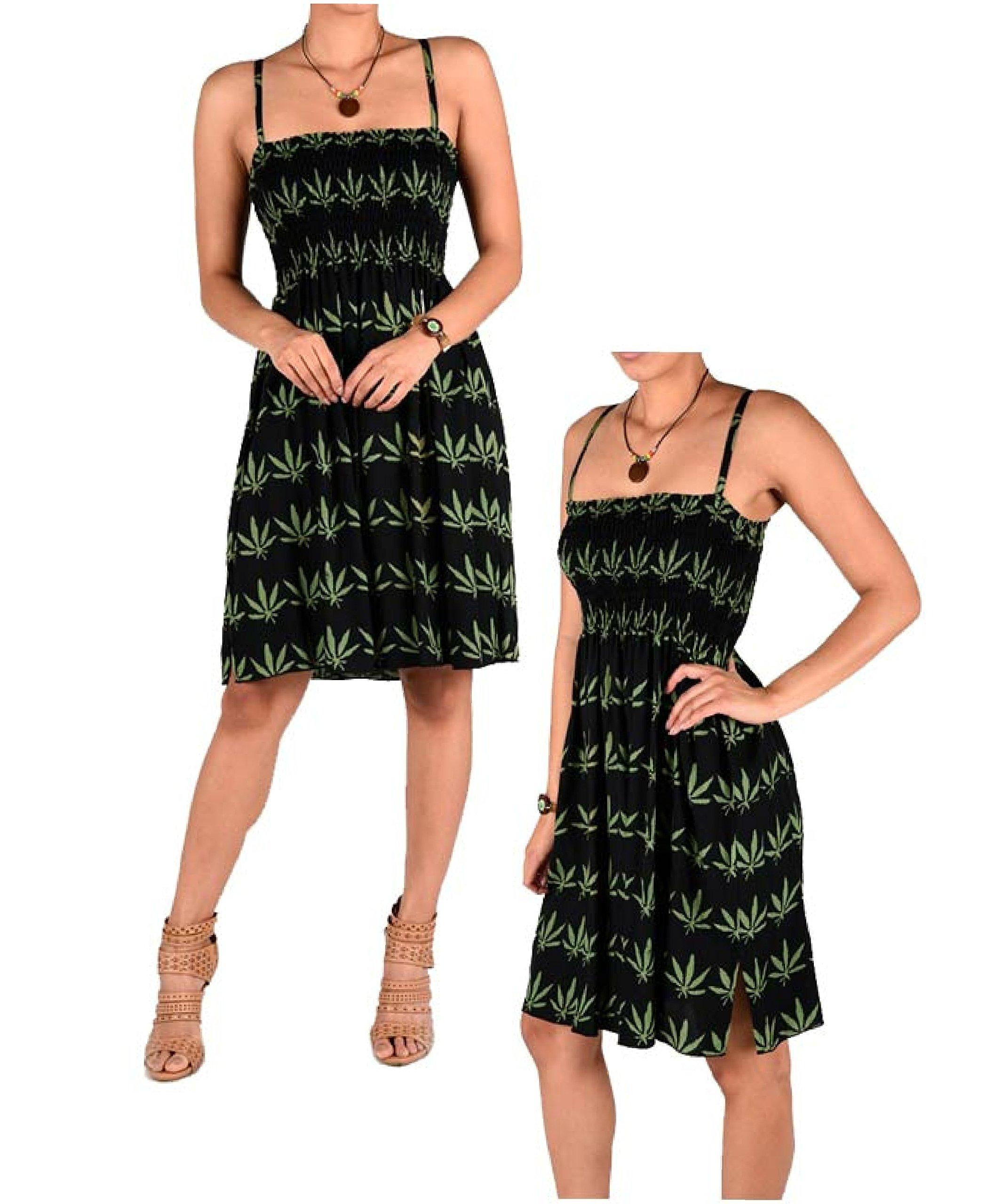 Womens Marijuana Green Leaf Mini Skirt Dress Pot Beach Cannabis Weed Blunt Pleated 1 Dress Size fit Most