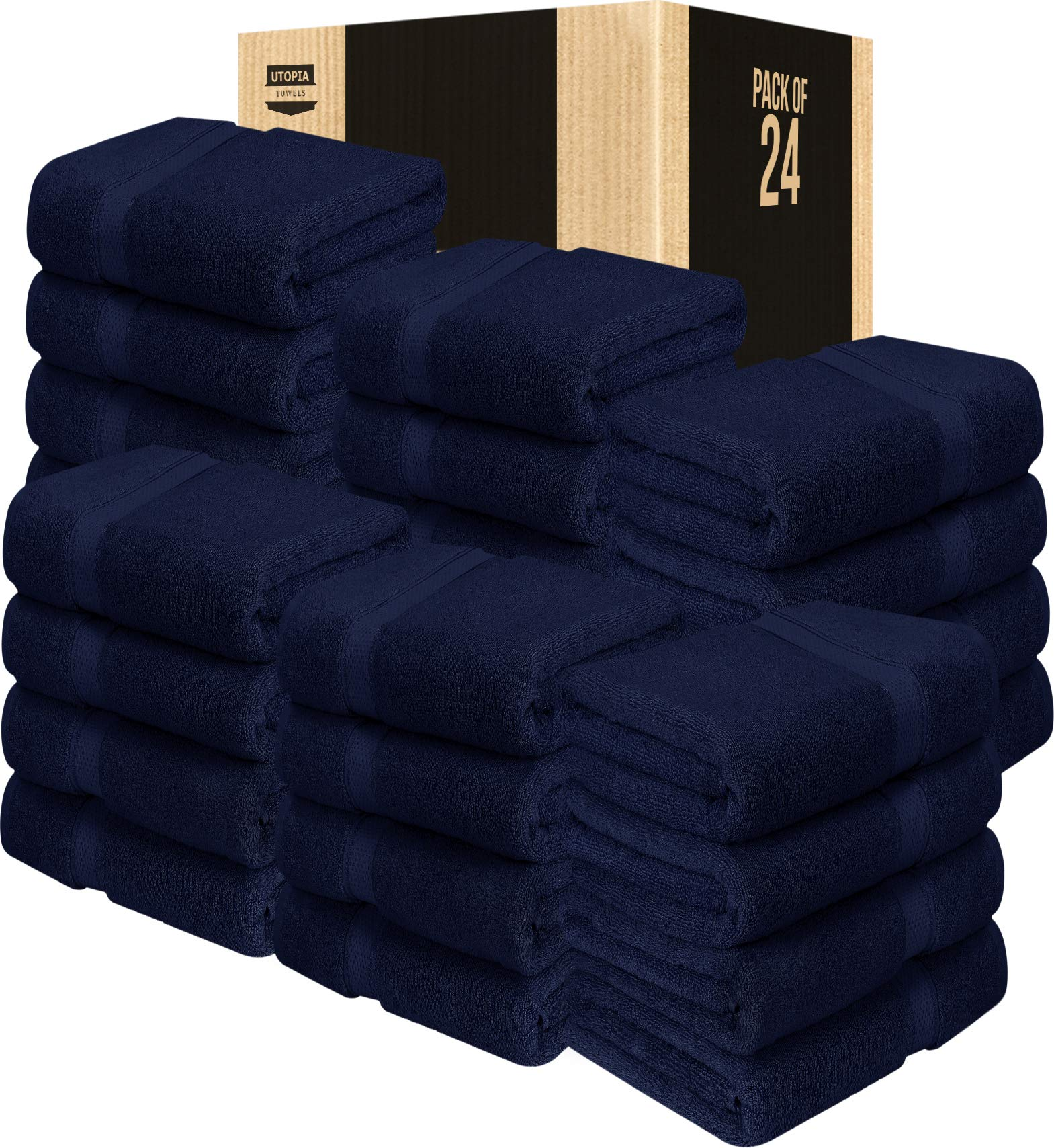 Utopia Towels 24 Pack Premium Bath Towels Bulk (27 x 54 inches Towel Set Bulk), Navy