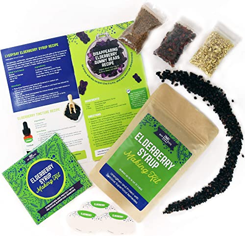 DIY Gift Kits Organic Elderberry Syrup Kit, 4 Herbal Recipe Pack Makes 25 Servings