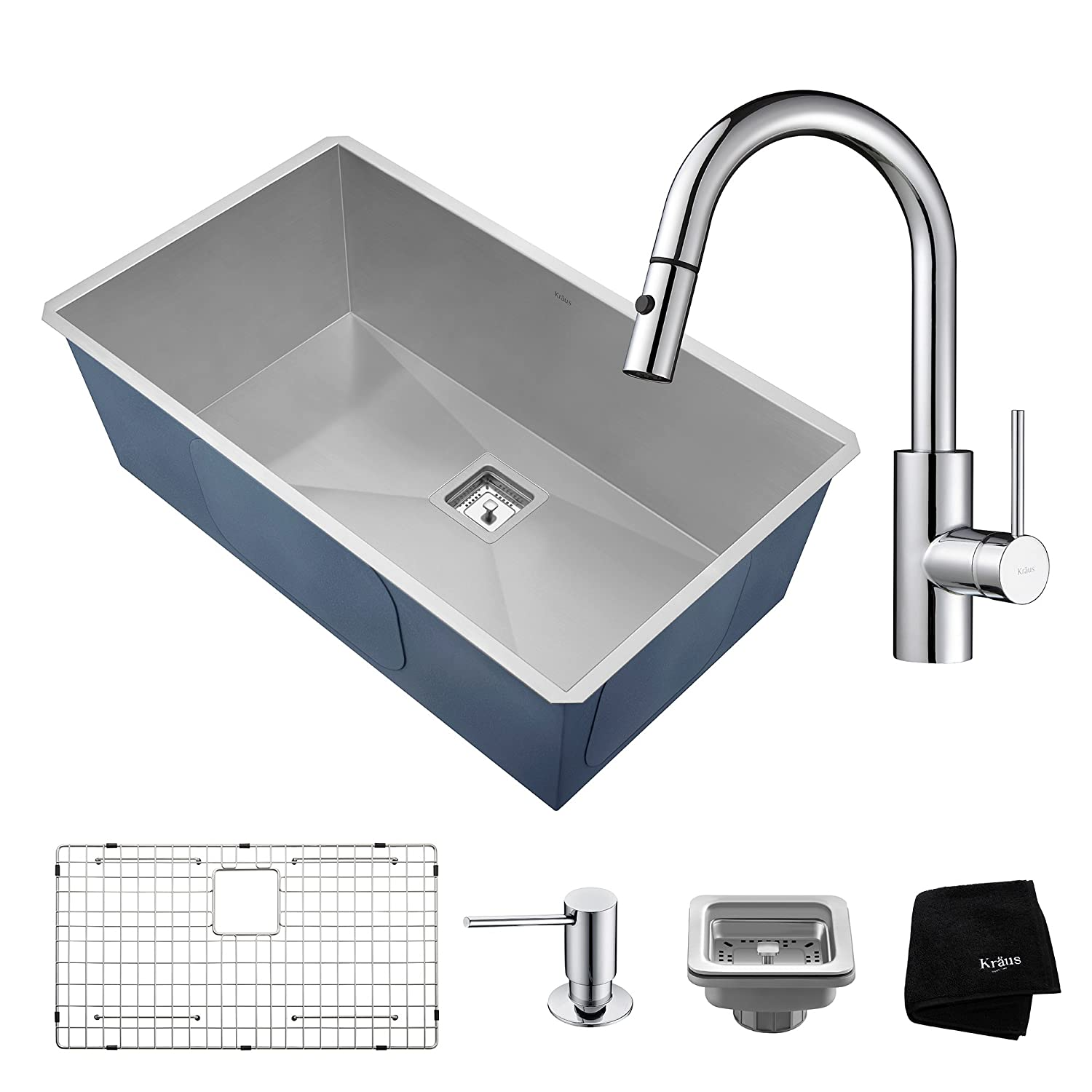 Kraus KHU32-2620-41CH 31 /½ Inch Combo with Pax Zero-Radius Handmade Undermount Bowl 16 Gauge Stainless Steel Sink and Oletto Single Handle Pull Down Kitchen Faucet with Soap Dispenser in Chrome