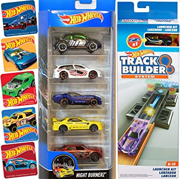 Hot Wheels Slam & Launch Race Cars Track System Kit Set Bundled with Racing 5-car Pack Nightburnerz Volkswagen / Nissan + Action Launcher + Bonus Stickers 2 Items: Amazon.es: Juguetes y juegos