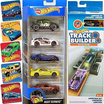 Hot Wheels Slam & Launch Race Cars Track System Kit Set Bundled with Racing 5-car Pack Nightburnerz Volkswagen / Nissan + Action Launcher + Bonus Stickers 2 Items: Amazon.es: Juguetes y juegos