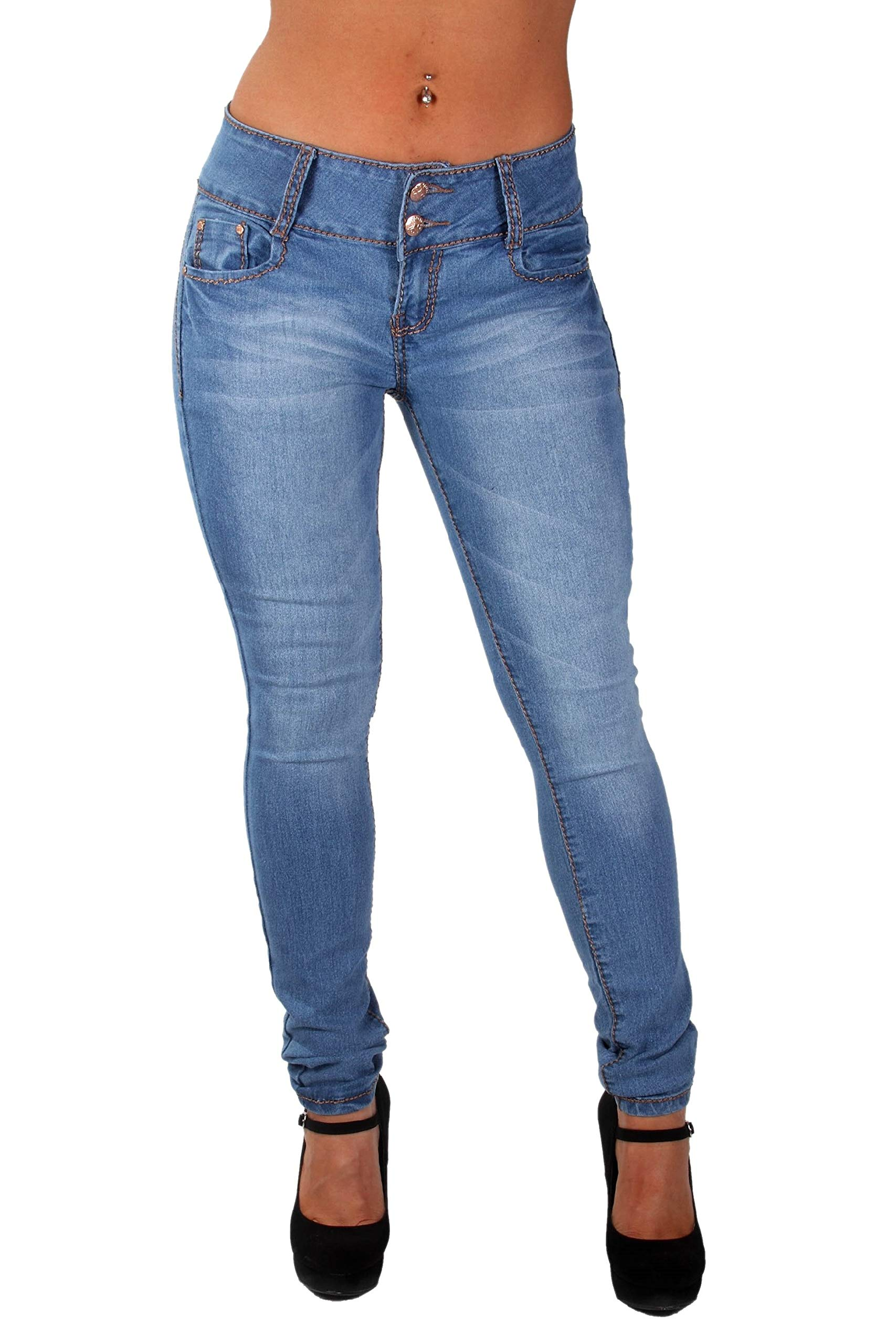 Style G154P– Plus Size, Colombian Design, Mid Waist, Butt Lift, Skinny Jeans in M. Blue Size 14