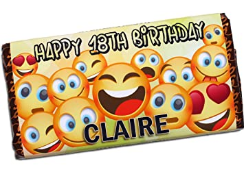 Personalised Emoji Happy Birthday 114g Milk Chocolate Bar 10th 13th 16th 18th 21st 30th 40th