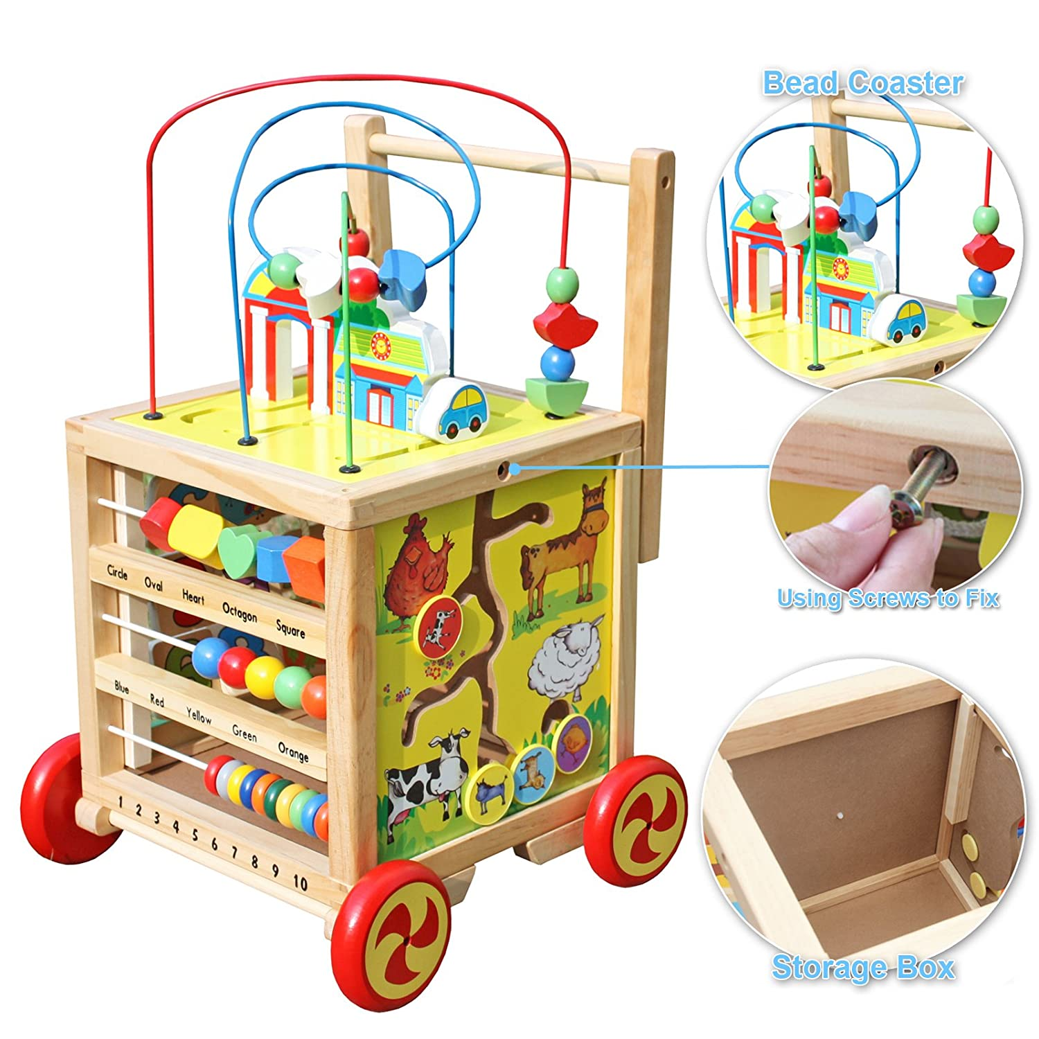 Amazon Timy Wooden Learning Bead Maze Cube 5 in 1 Activity