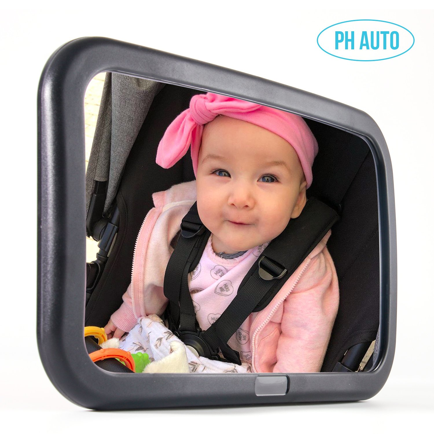 PH AUTO Baby Car Mirror for Backseat. Extra Large. W 12'' x H 7.5'' Wide View of Rear Facing Infant. Fully Assembled. Shatterproof. Crystal Clearview. Best Baby Shower Gift by PH AUTO