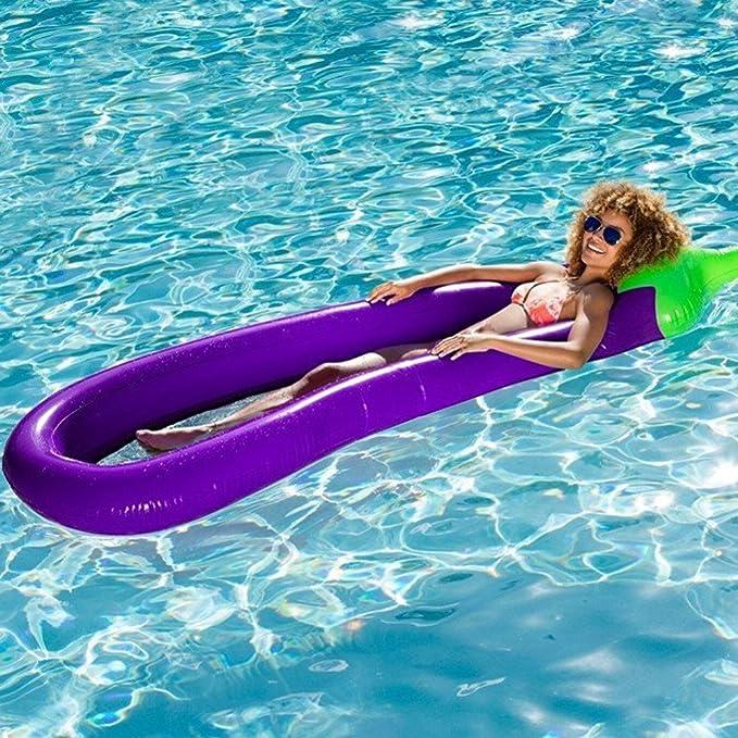 Cuna inflable de la berenjena del flotador de la natación del flotador de la piscina del flotador para el tubo adulto de la balsa de la balsa: Amazon.es: ...