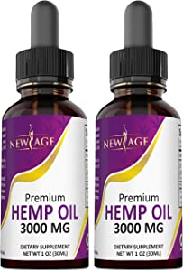 (2-Pack) 3000mg Hemp Oil Extract for Pain & Stress Relief - 3000mg of Pure Hemp Extract - Grown & Made in USA - 100% Natural Hemp Drops - Helps with Sleep, Skin & Hair.