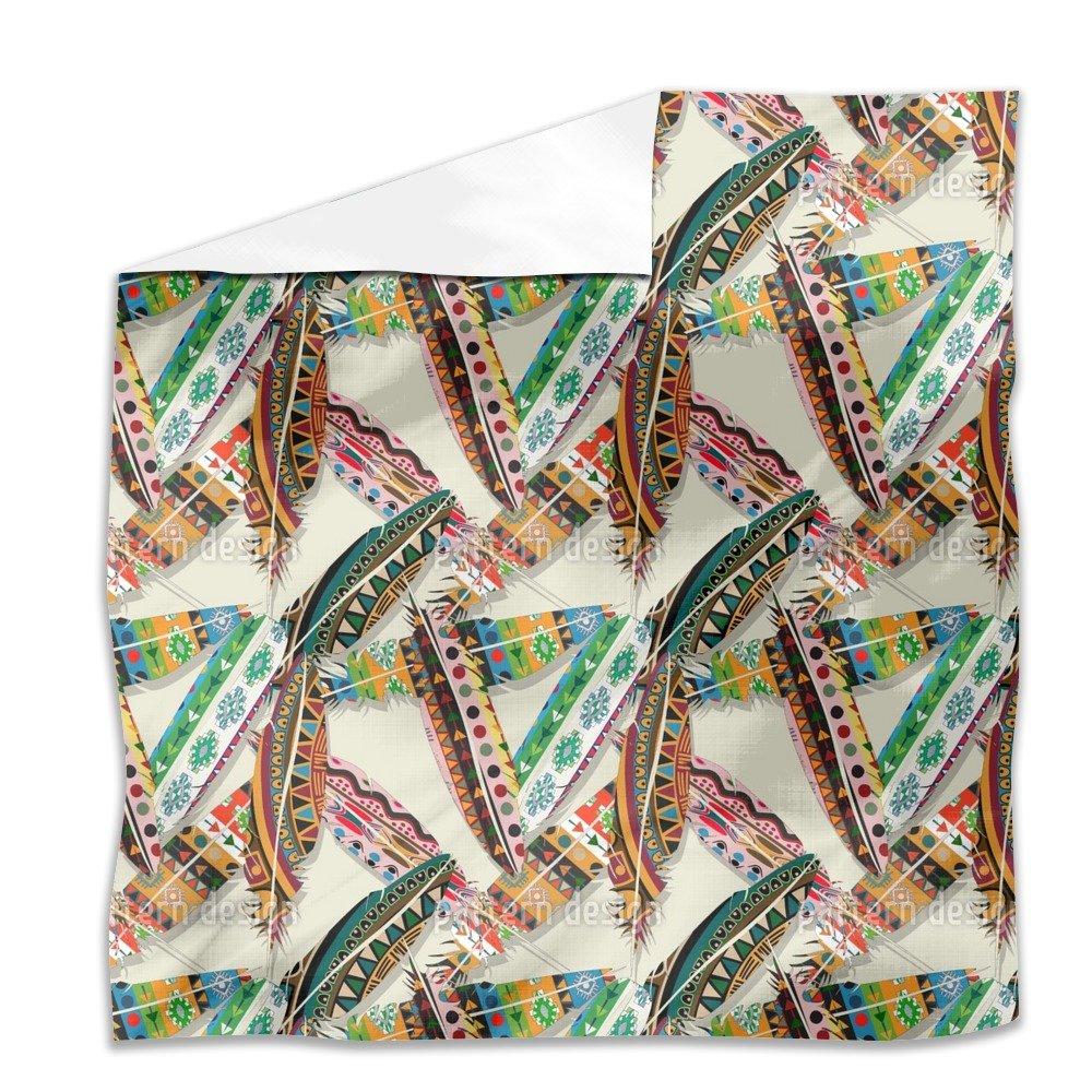 Ethno Feathers Flat Sheet: King Luxury Microfiber, Soft, Breathable