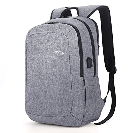 Amazon.com  SOCKO 17.3 Inch Laptop Backpack w USB Charging Port ... 53263c7309e36