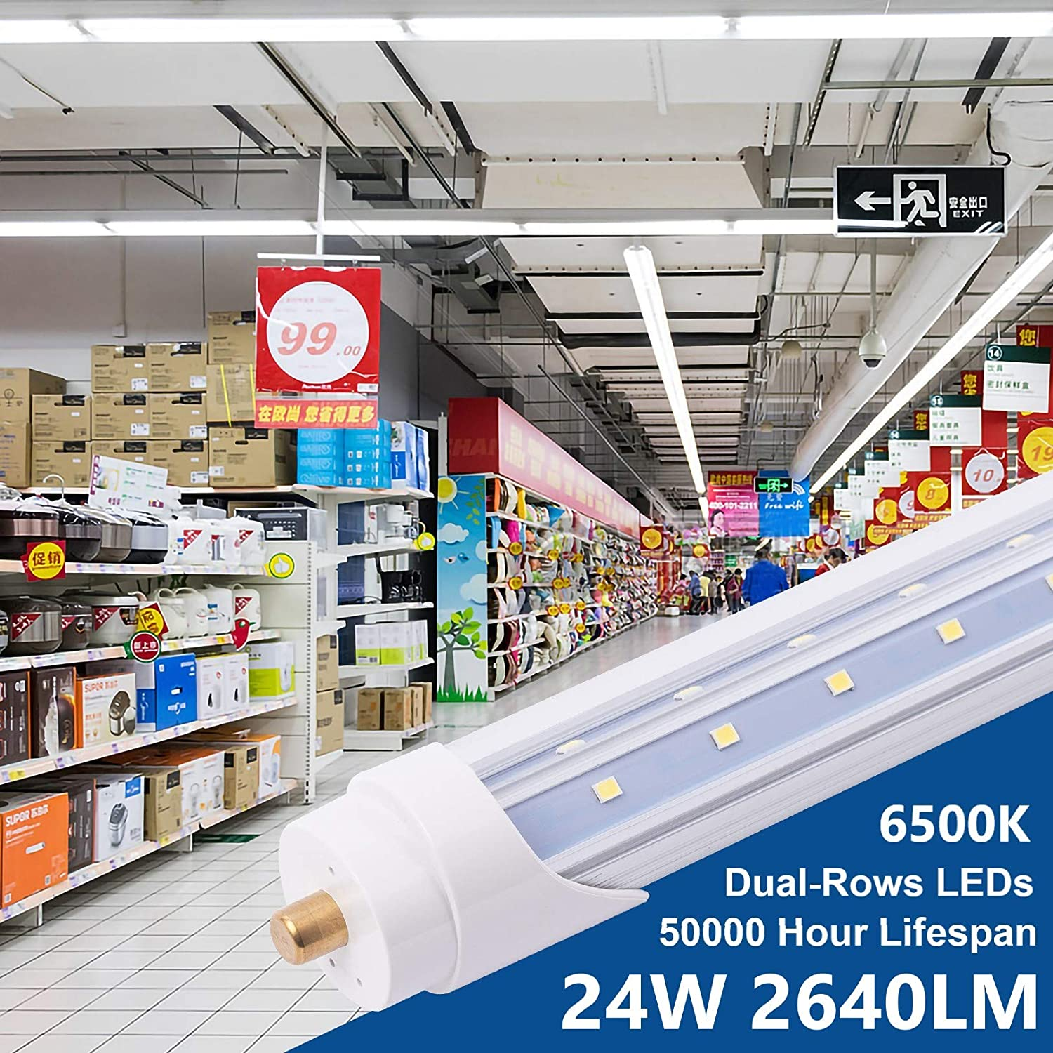 5ft 30w, 6 Pack 6 Pack T8 V Shaped 5 Foot 30W LED Tube Light Double-Side Dual-Rows LEDs Single Pin FA8 Base 6500K Daylight White Fluorescent Bulbs Replacement Clear Cover AC100-277V
