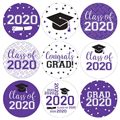Class of 2020 Graduation Party Favor Labels - 180 Stickers (Purple): Health & Personal Care