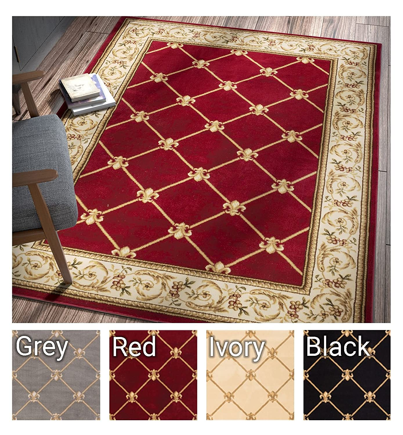 Patrician trellis red french european formal traditional 5x7 53 x 73 area rug easy to clean stain fade resistant shed free modern contemporary