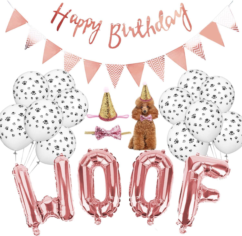 Legendog Dog Birthday Party Supplies, WOOF Letter Balloons,Paw Print Balloons Pet Birthday Hat Happy Birthday Banner for Dog Birthday Party