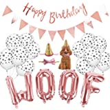 Legendog Dog Birthday Party Supplies, WOOF Letter Balloons,Paw Print Balloons Pet Birthday Hat Happy Birthday Banner for…