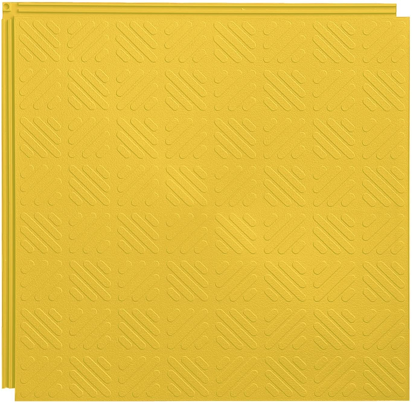 Resilia Flexible Interlocking Snap Floor Tiles – Protective Flooring for Your Garage, Home, Office or Gym, Yellow Color, Grid Texture, 12-inch, 0.25-inch, 10 Pack
