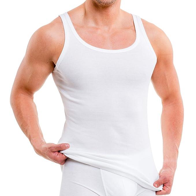 HERMKO 3000 kit de cinco tank tops para hombre, hechos de algodón 100%,