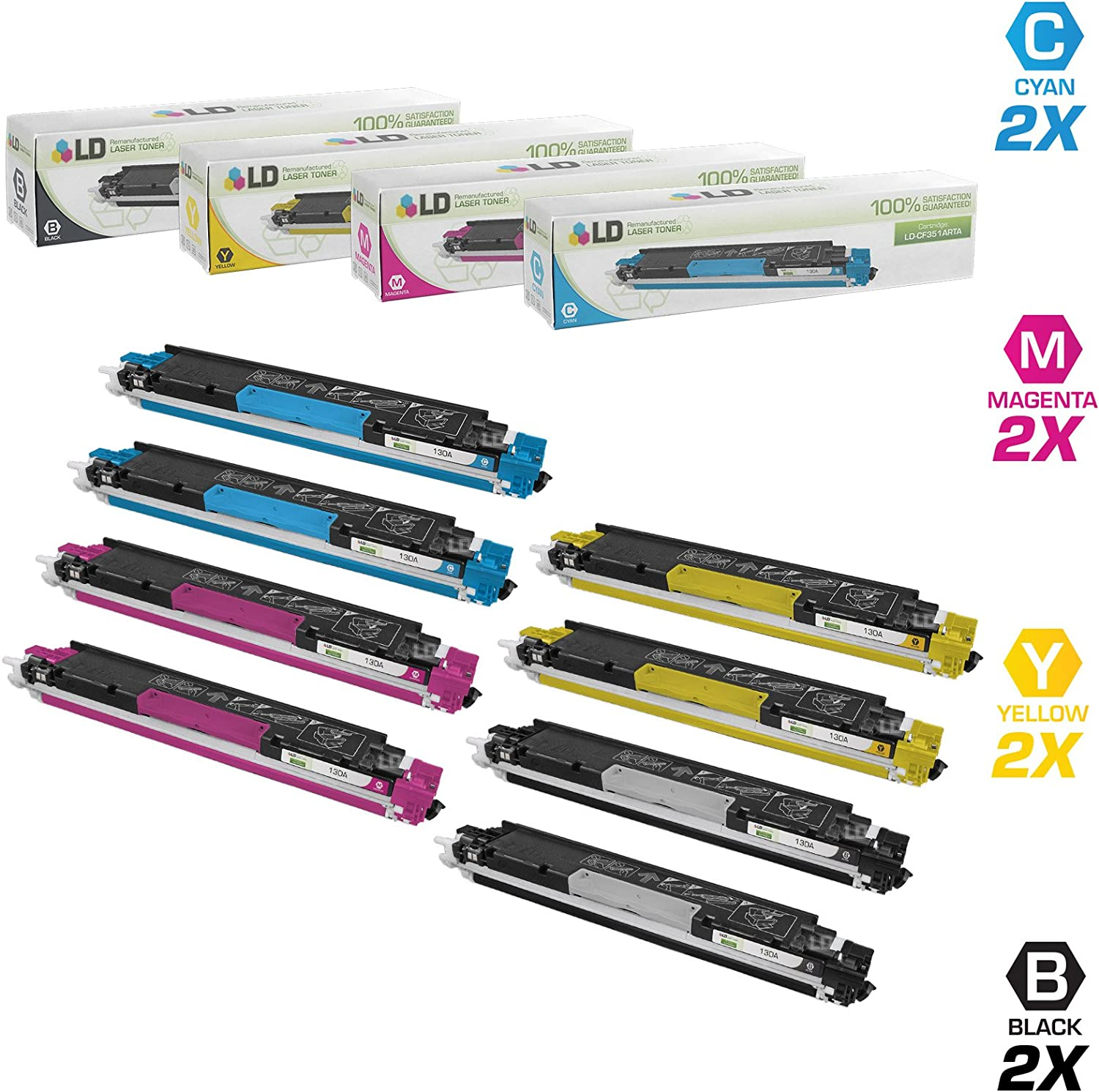 LD Remanufactured Toner Cartridge Replacement for HP 130A (2 Black, 2 Cyan, 2 Magenta, 2 Yellow, 8-Pack)