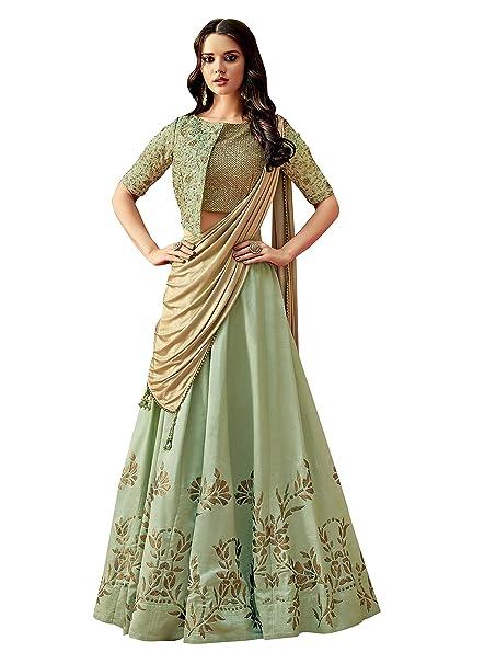 e6b99230e98f1 Image Unavailable. Image not available for. Colour  Mahotsav Women s Silk  Semi-Stitched Lehenga ...
