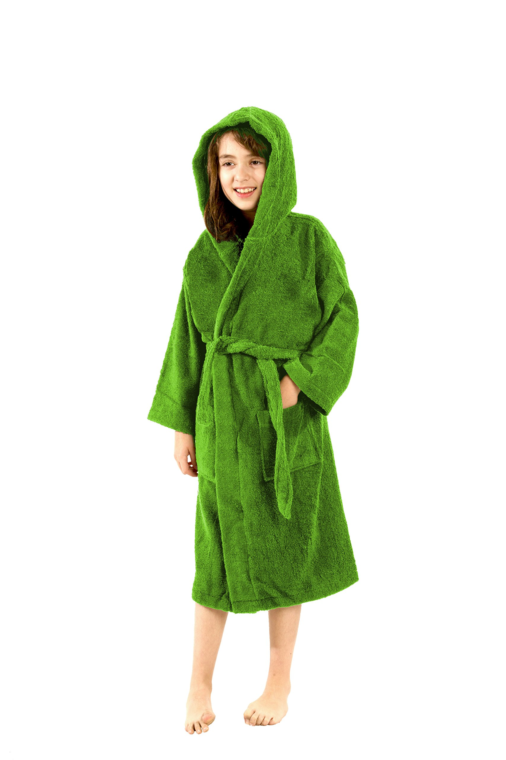 Personalized Kids Hooded Robes, Apple Green, LARGE Size