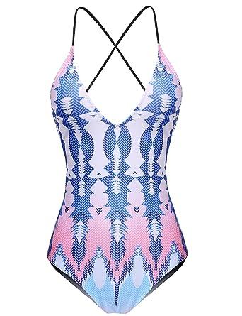 cee38200a262f5 L'AMORE Damen Badeanzug Monokini Bikini Einteiler Blumen Drucken  Schwimmanzug Swimsuit Cut Out Bademode