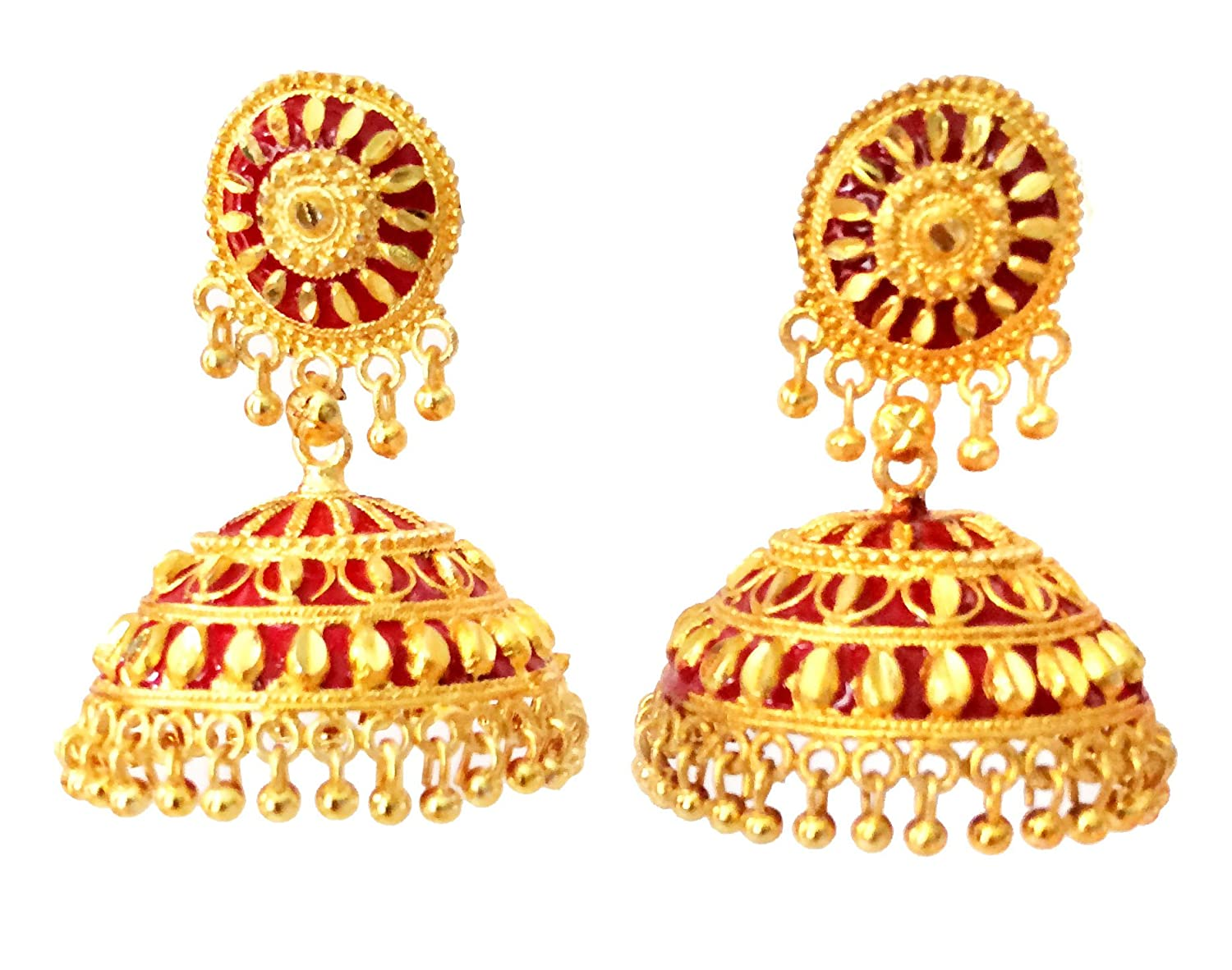 Amazon.com: GOLD RED JHUMKA EARRINGS, Bridal Jhumkas, Large Dome ...