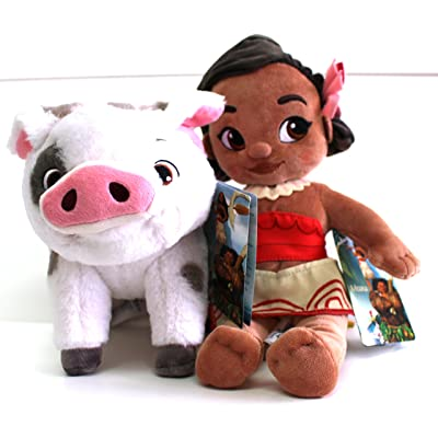 Disney Moana & Pua, Plush Toys Animators Collection - Moana is 12 inches Tall - Pua is 7inches Tall and 10 inches Long - Genuine, Original, Authentic, Store: Toys & Games