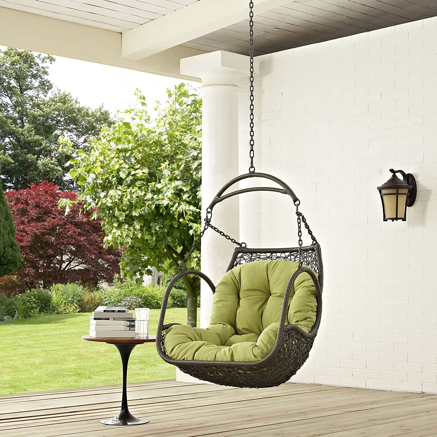 Modway EEI-2659-PER-SET Arbor Outdoor Patio Balcony Porch Lounge Swing Chair Set with Hanging Steel Chain Peridot