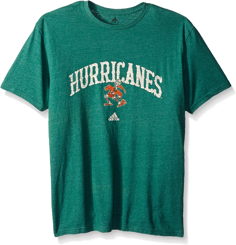 Medium adidas NCAA Miami Hurricanes Adult Men Pastime Arch Vault Tri-Blend S//Tee Dark Green Heathered