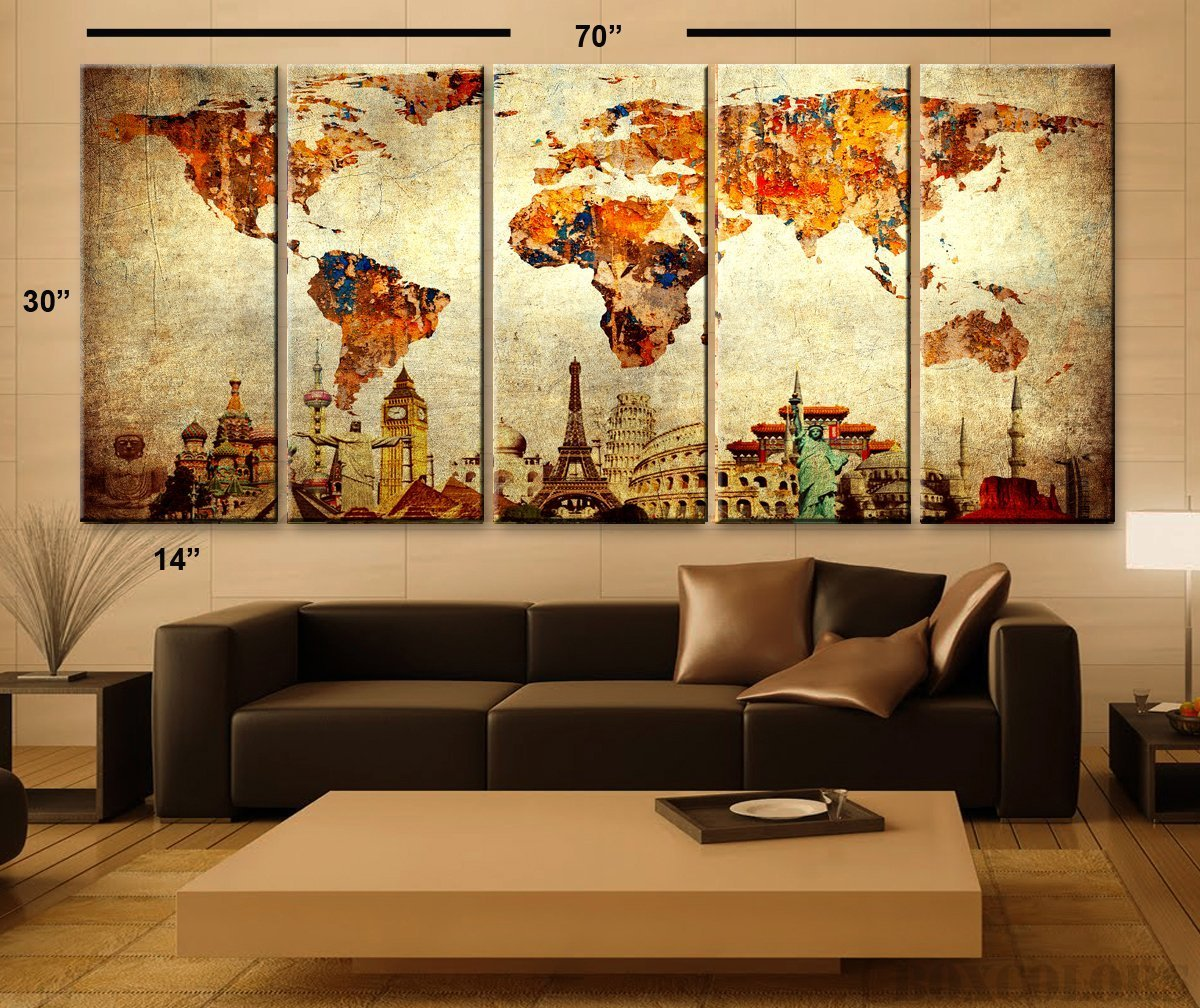 Amazon xlarge 30x 70 5 panels 30x14 ea art canvas print amazon xlarge 30x 70 5 panels 30x14 ea art canvas print original wonders of the world old paper map vintage wall decor home interior framed 15 amipublicfo Image collections