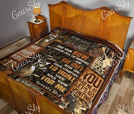 Amazon.com: Let's Go Hunting My Game is Huting Quilt Twin Size