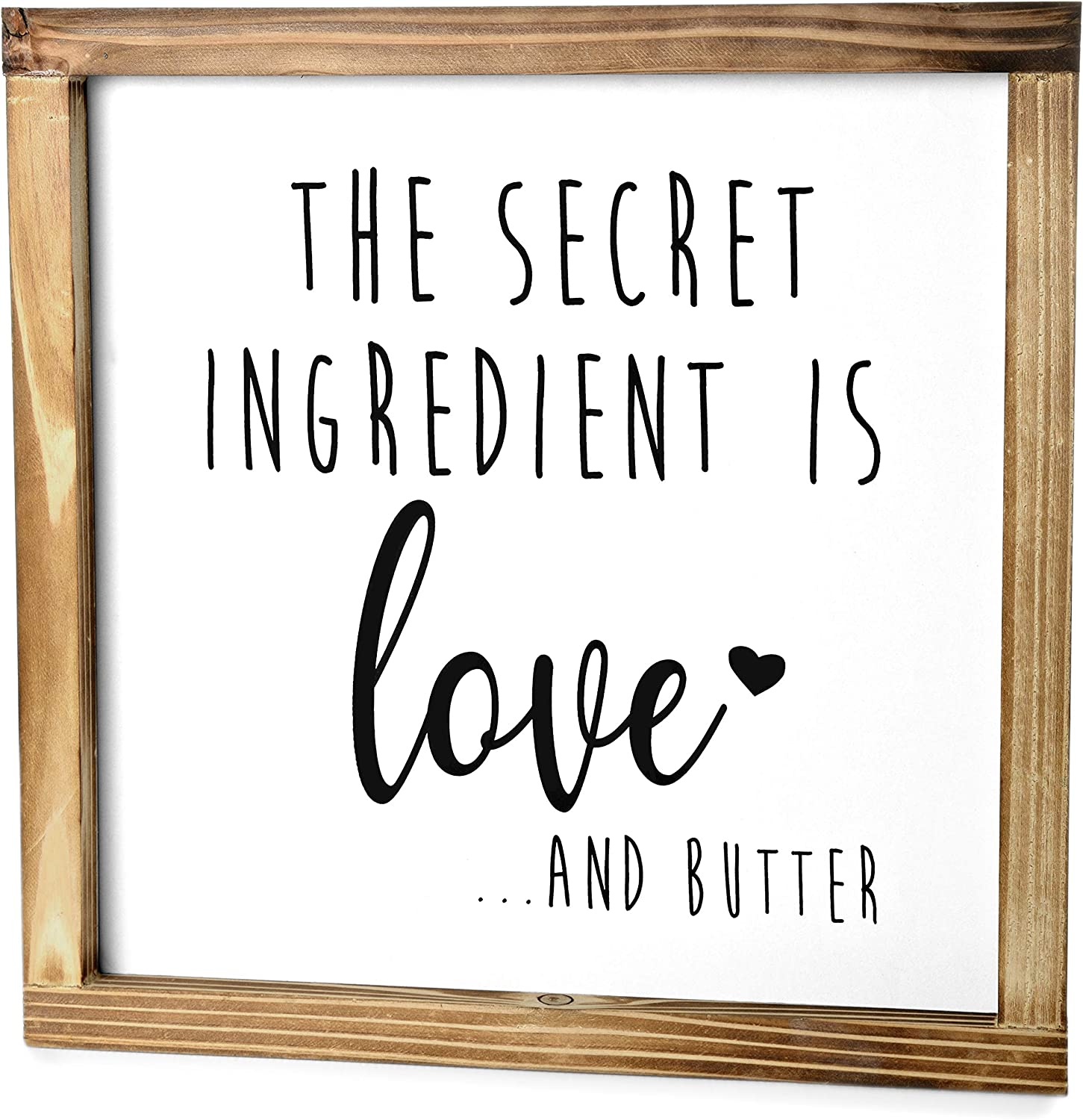 MAINEVENT The Secret Ingredient is Always Love and Butter Sign - Funny Kitchen Sign - Modern Farmhouse Kitchen Decor, Kitchen Wall Decor, Country Kitchen Decor with Solid Wood Frame 12x12 Inch