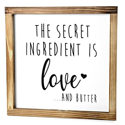 The secret ingredient is love wood sign Rustic Kitchen Decor Wood signs fir kitchen Kitchen wood wall art