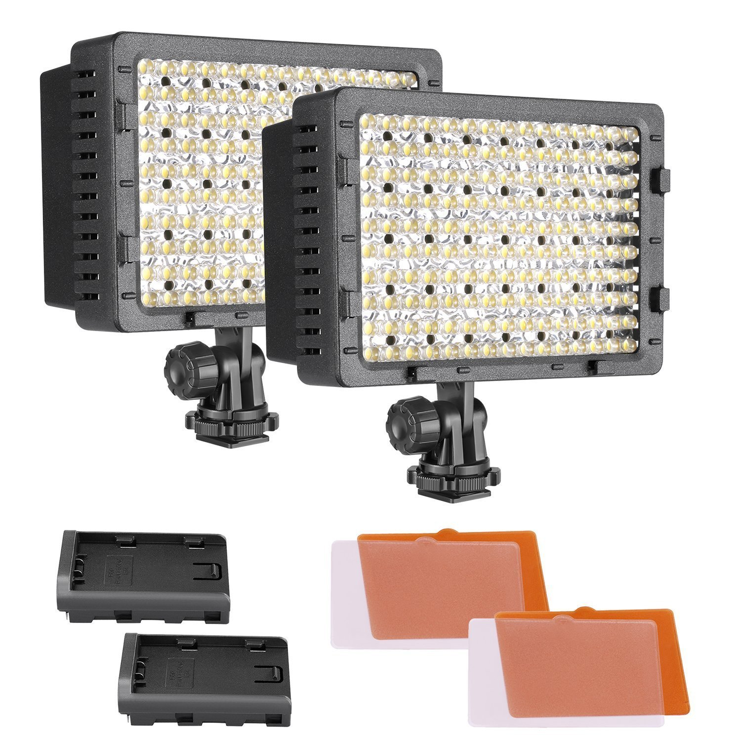 Neewer 2-Pack Dimmable 216 LED Video Light with 4 Color Filters White and Orange for Canon, Nikon, Pentax, Panasonic, Sony, Samsung and Olympus DSLR Cameras Camcorders by Neewer