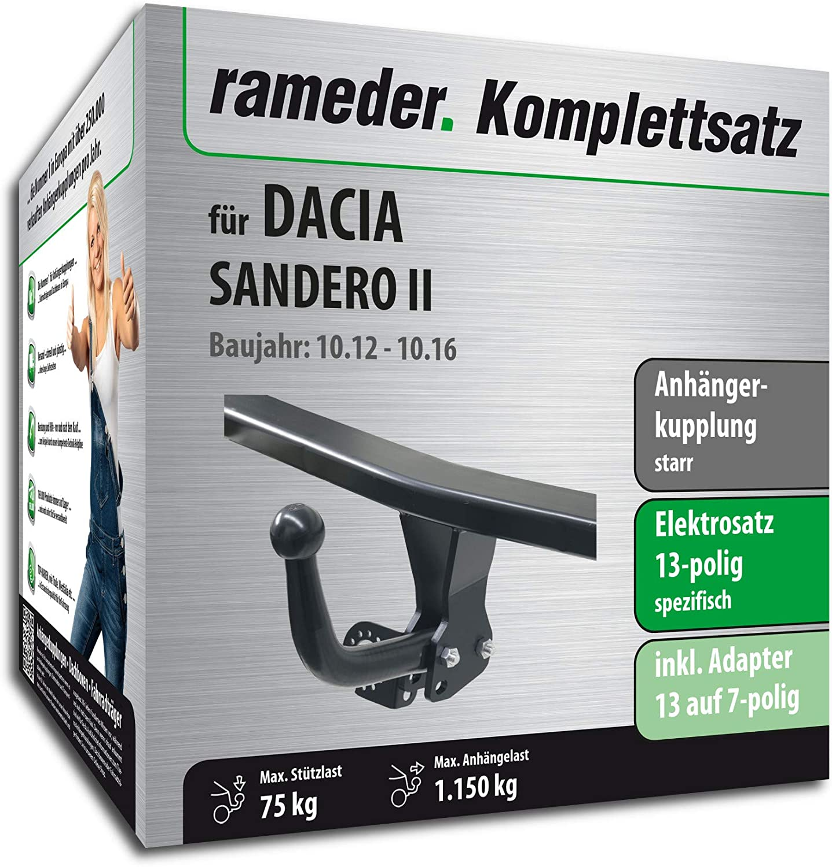 121991-10963-1 Anh/ängerkupplung starr 13pol Elektrik f/ür Dacia SANDERO II Rameder Komplettsatz