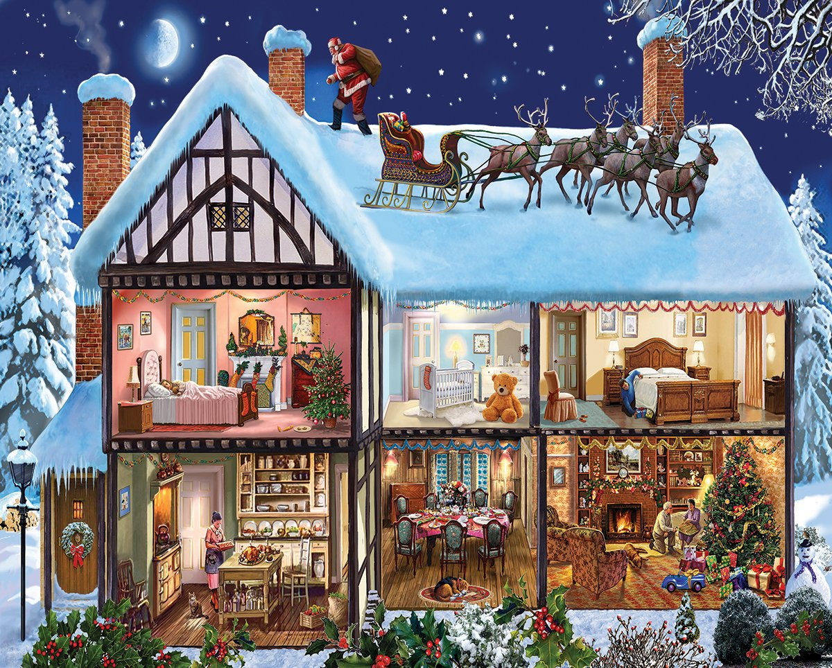Christmas Jigsaw Puzzles Santa Living Room