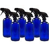 16oz Cobalt Blue Glass Spray Bottles (6 Pack), Heavy Duty Mist and Stream Sprayer
