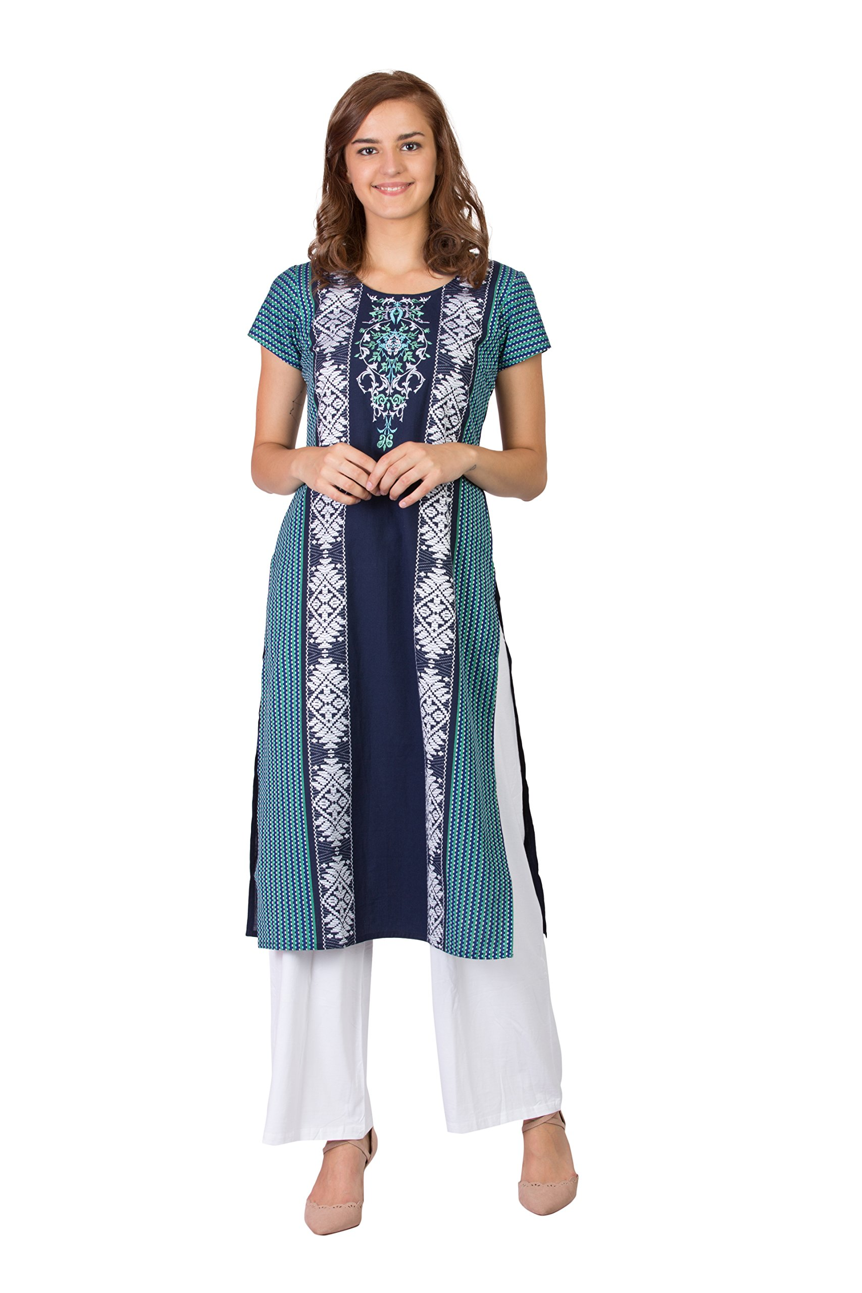 SABHYATA Women Kurta Designer Ethnic Long Dress Casual Tunic Kurti for Women Ladies Partywear Material 100% Pure Cotton Neck Type Round Neck Medium N.Blue