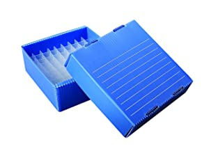 Heathrow Scientific HS120376 True North Flatpack PP Freezer Boxes, 81 Place, 1.5/2 mL, Blue (Pack of 10)