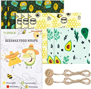 Uarter Beeswax Wraps Set of 7 BPA Free Washable Reusable - Food Wraps Cheese and Sandwich Wrappers Bowl Covers - Alternative to Cling Film –3 Sizes (S/M/L)