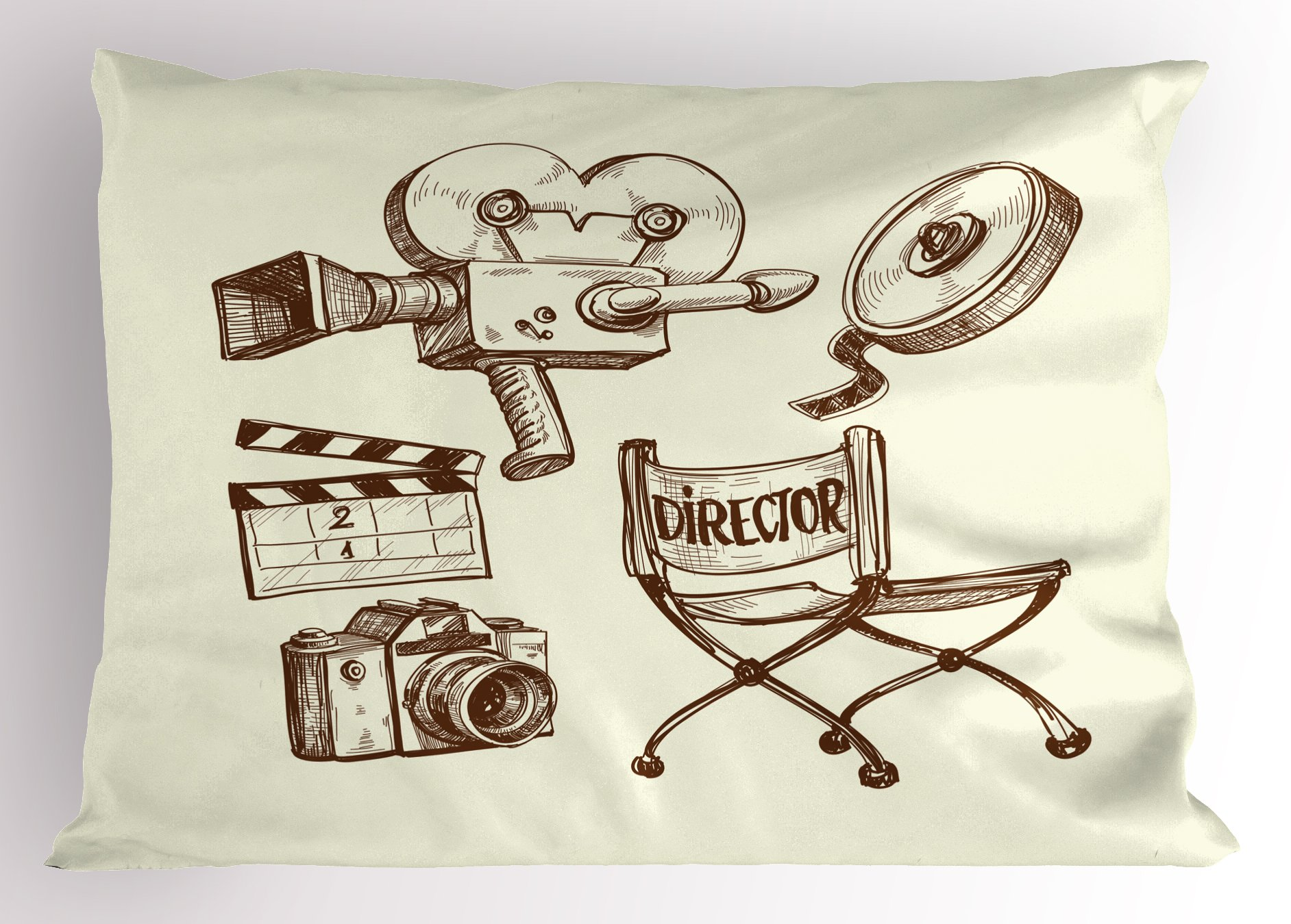 Ambesonne Movie Theater Pillow Sham, Photography and Cinema Vintage Set in Sketch Art Style Director Shooting, Decorative Standard Queen Size Printed Pillowcase, 30 X 20 Inches, Beige Brown