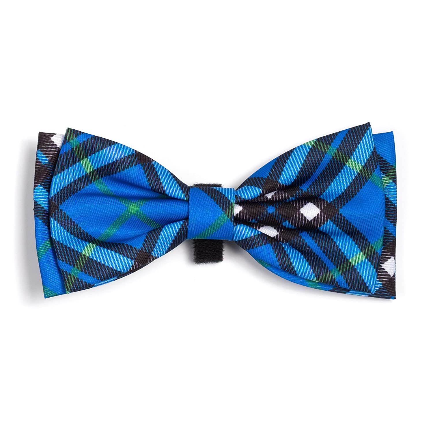 L The Worthy Dog Bias Plaid Bow Tie for Dogs, Large, bluee