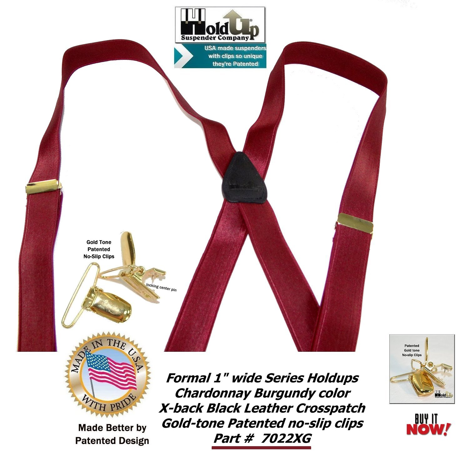 b3375a0510c Holdup Suspender Company s X-back Formal Chardonnay Burgundy Men s  Suspenders with Patented Gold-tone Clips at Amazon Men s Clothing store
