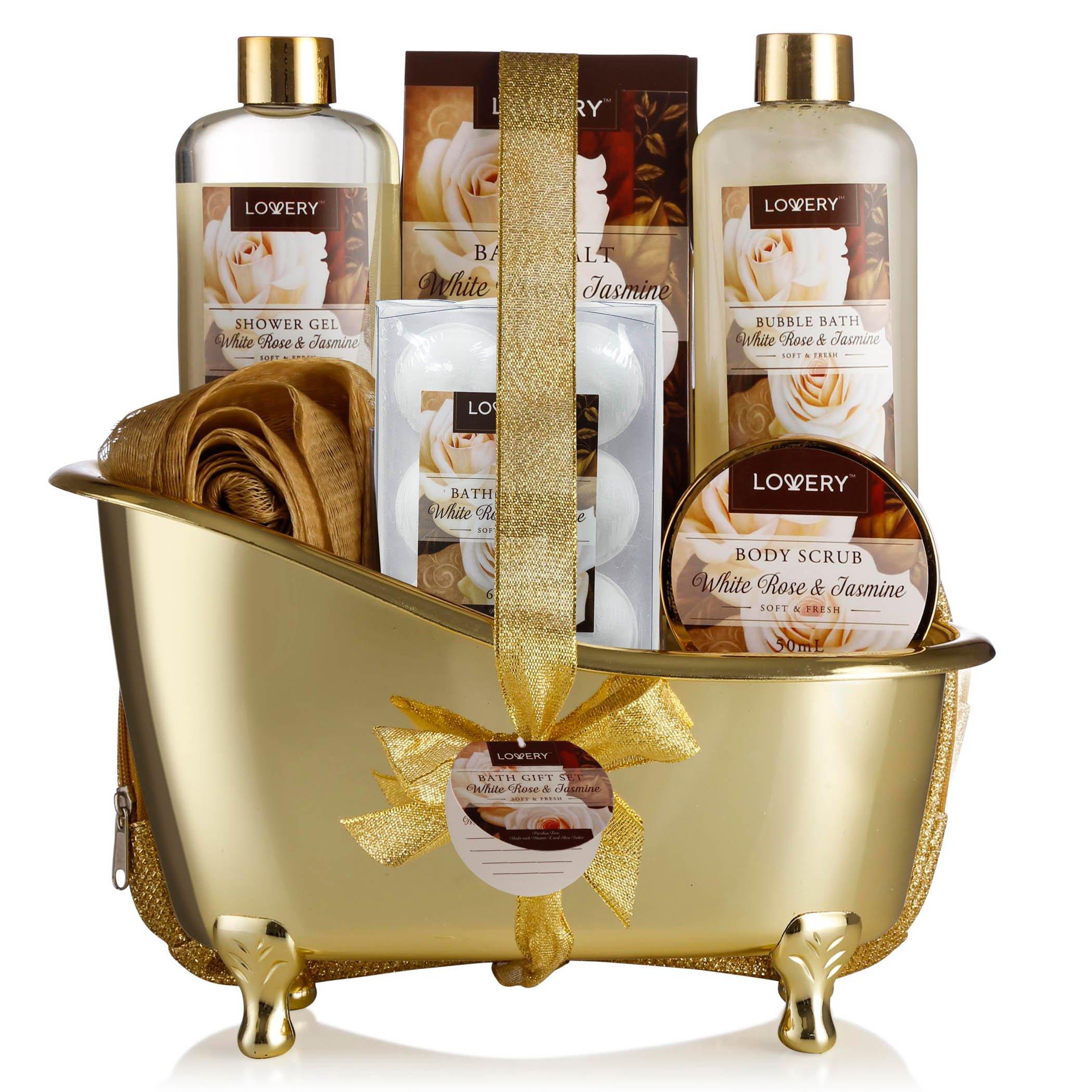 Spa Gift Basket, Luxury 13 Piece Bath & Body Set For Men & Women, White Rose & Jasmine Fragrance - Contains Shower Gel, Bubble Bath, Body Scrub, Bath Salt, 6 Bath Bombs, Pouf, Cosmetic Bag & Gold Tub by LOVERY