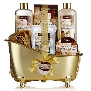 Spa Gift Basket, Luxury 13 Piece Bath & Body Set For Men & Women, White Rose & Jasmine Fragrance - Contains Shower Gel, Bubble Bath, Body Scrub, Bath Salt, 6 Bath Bombs, Pouf, Cosmetic Bag & Gold Tub
