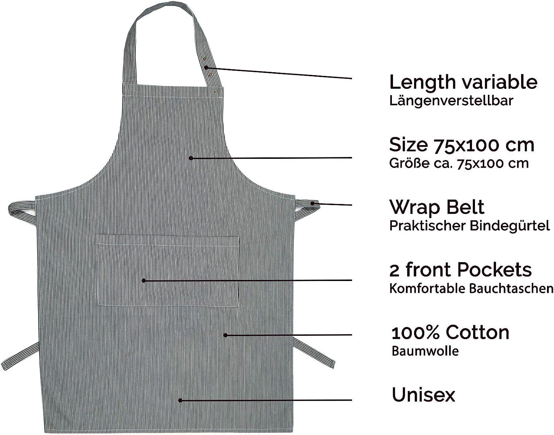 75x100 cm ZOLLNER Kochsch/ürze verstellbar aus Baumwolle UVM. grau