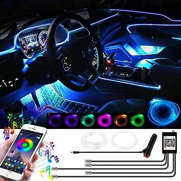 Yaobluesea 12v Auto Led Innenbeleuchtung 6m Led 5050 Rgb Ambientebeleuchtung Neon Lichtleiste Wasserdichte Led Atmosphäre Licht Strip Streifen Mit App Auto