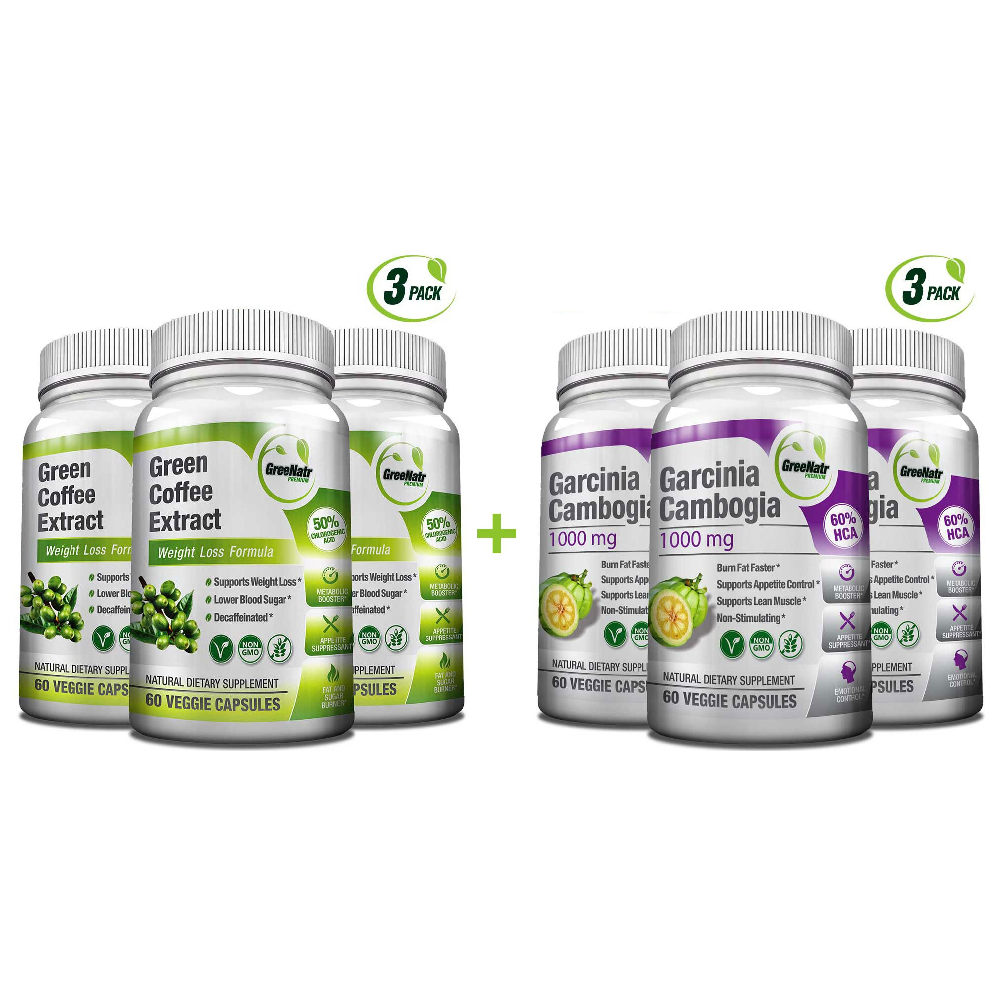All-in-One Weight Diet Loss Pills & Appetite Suppressant Bundle w/Pure Green Coffee Bean Extract + Garcinia Cambogia Extract   Blocks Fat, Sugar, Carbs - 120 Veggie Capsules - Gluten Free & Non GMO by GreeNatr