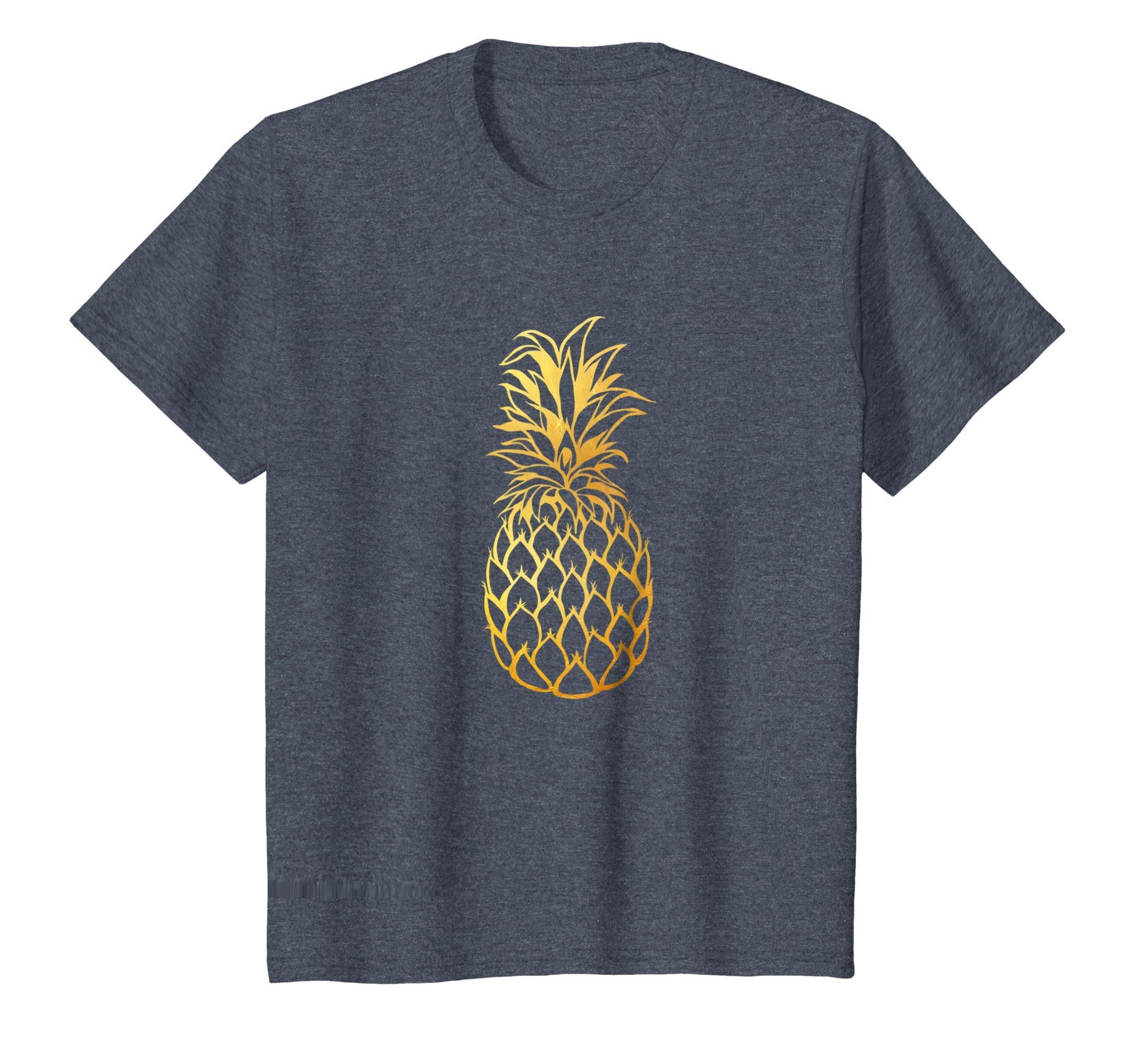 Kids Gold Pineapple | Cute & Modern | Fine-Apple Z000010 10 Heather Blue